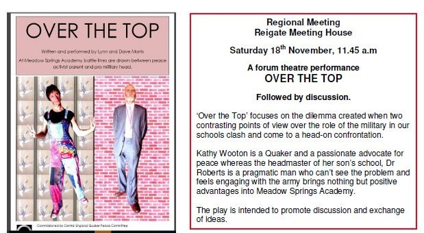 Come along to #Theatre performance 'Over The Top' 18th Nov 11.45am #Reigate #Quaker Meeting House!